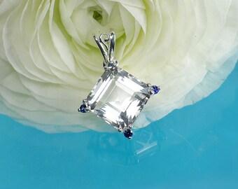 Diamond Alternative, Conflict free, Herkimer Diamond, Blue Sapphire, Natural Gemstone Pendant, Sterling Silver