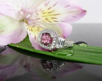 Pink Tourmaline Ring, Pink Gemstone Statement Ring, October Birthstone Ring, Tourmaline Sterling Ring, Natural Tourmaline Ring, Tourmaline