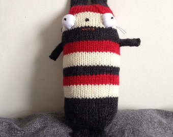 Hand knitted stuffed soft toy cat stripy / gift