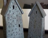 Ceramic Houses in Gunmetal Charcoal Gray