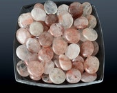 "1 Natural Red Strawberry QUARTZ Palm Stone 1.2"" - 1.3"" Flat Tumbled Stone Madagascar Hematoid Quartz Harlequin Healing Crystal Stone #SQ20"