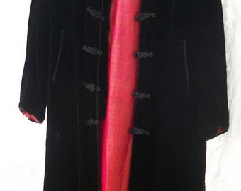 Silk Velvet Coat / Duster ~ Open Side Slits ~ Frog Fasteners ~ Vintage ~ Black ~ Iridescent Lined ~ Pockets ~ Mandarin style Collar