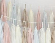 Dusty blush / blushing pink Tassel Garland Banner-  Party Decor, Party, Wedding decor / nursery decor / dusty pink / fully assembled