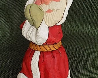 Hand Carved Wood Praying Santa