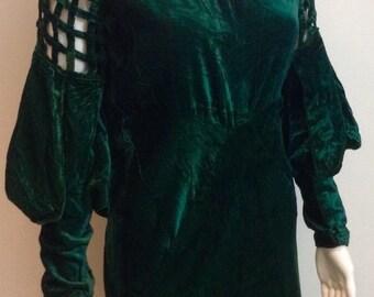 Super 1930's Green Velvet Dress