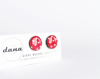 red stud earrings polka dot post earrings rockabilly earrings hypoallergenic studs vinyl record pin up jewelry red earrings resin jewellery