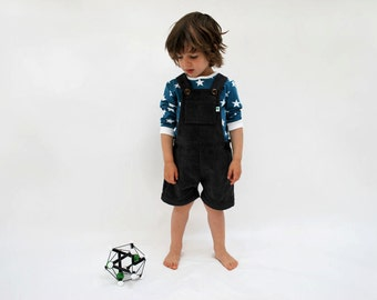 Boys dungaree shorts outfit dark grey cotton corduroy charcoal short all in one smart boy summer wedding spring childrens comfy clothes cute
