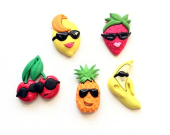 Cool Fruit Magnets, Top Banana, Strawberry, Tropical Fruit Salad, Fridge Magnets, Office Decor