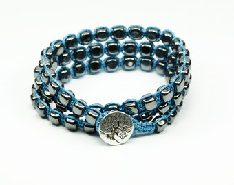 Magenetic hematite cube, blue, tree of life  macrame triple wrap bracelet, doubled anklet, or necklace