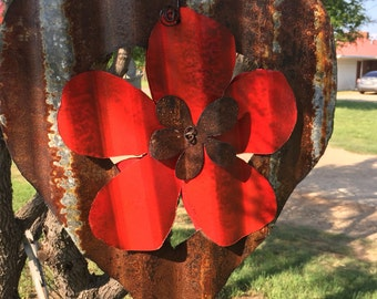 Corrugated tin Rusty  heart and red flower