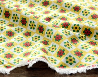 Flower Linen Fabric, Yellow Floral Fabric, Cotton Linen Fabric - Yellow Red Checker Flower