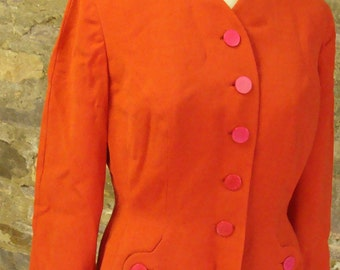 BRIGHT RED 1940's SUIT nipped waist jacket and straight skirt 1950's M