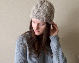 Wool Cable Twist Knit Beanie Hat, Skull Cap   Size Small   Oatmeal Cream   Wool Yarn