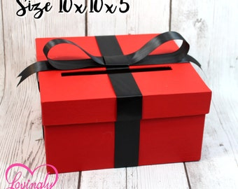Card Holder Box - Gift Money Box for Any Event - Red and Black - Bridal Shower, Wedding, Baby Shower, Graduation, Birthday, Retirment