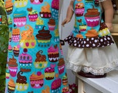 Girl's Apron with Matching American Girl, Madame Alexander, or Bitty Baby Doll Apron; Matching Apron Sets, Cupcake Aprons; Full Chef Apron