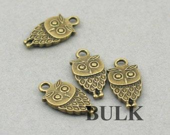 Small Owl Charms BULK order Antique Bronze 40pcs pendant beads 9X18mm CM0023B