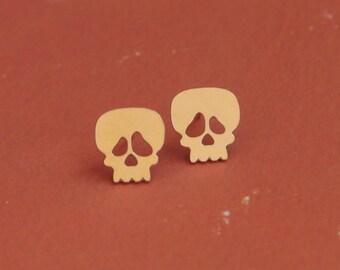 Gold Skull Earrings , Cute Skull Studs , Skeleton Jewelry