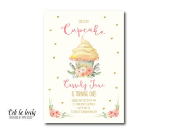Little Cupcake Invitation, First Birthday Invite, Printable, DIY, Sweets, Floral, Watercolor, Sweets