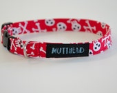 Extra small dog collar, Tucker (red with skulls and crossbones)