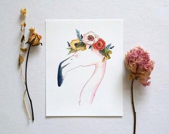 Flamingo - Animal Floral Crown Watercolor Print - 8x10
