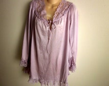 Lilac nylon nightgown silky babydoll sexy plus size lingerie XL 1X