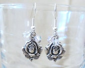 Mother's Earrings - Silver Roses & Shimmering Crystals Dangle Earrings, Handmade Original Fashion Jewelry, Feminine Classic Ladies Gift Idea