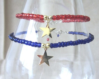 Brass Star Charm Beaded Anklet, Red or Blue Glass Seed Bead Anklets, Plus Size Ankle Bracelet, Handmade Simple Patriotic Holiday Jewelry