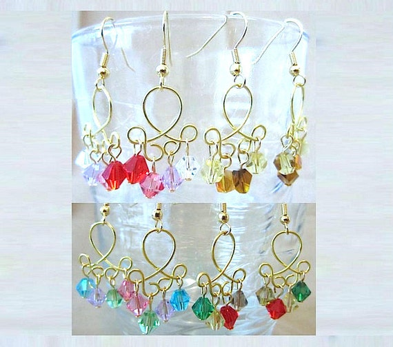 Multicolored Crystal & Open Gold Twist Dangle Earrings, Handmade Original Fashion Jewelry, Abstract Unique  Modern Style, Bold Feminine Gift