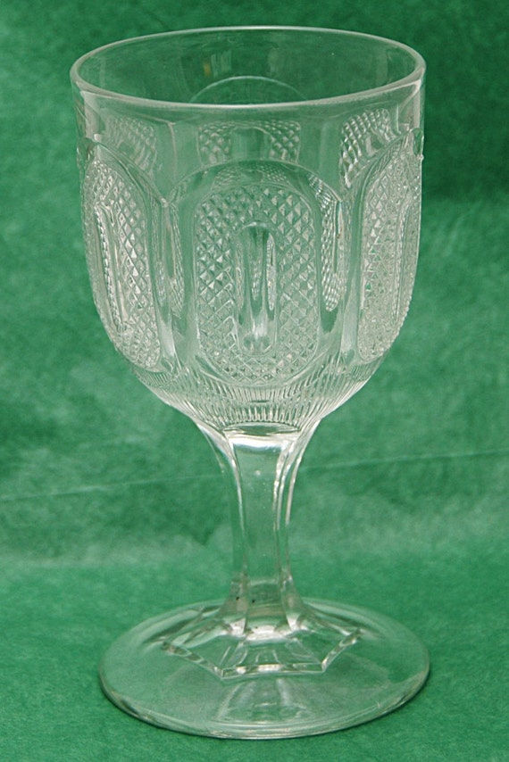 Antique 1870s BOSTON SANDWICH E A P G BUCKLE aka Early Buckle Pattern Glass Goblet 3 Part Mold Nice Ring Exc Condition