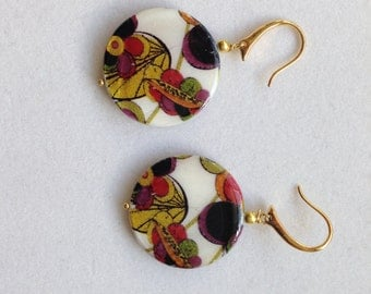 Drop Earrings in Red and Green