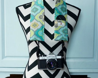 DSLR Camera Strap Cover- lens cap pocket and padding included- Turquoise, Lime and Grey