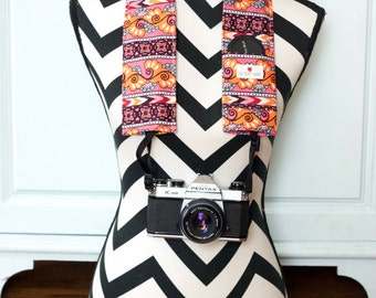 DSLR Camera Strap Cover- lens cap pocket and padding included- Autumn Stripes
