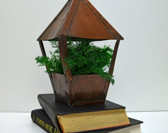 Vintage Copper House Planter / Terrarium