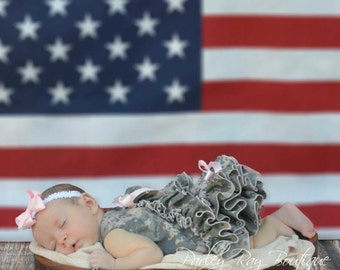 Parley Ray Daddy's Girl US Army ACU Digital Camouflage Ruffled Pinafore and Baby Bloomers