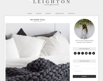 "Wordpress Theme Responsive Blog Design ""Leighton"" - Classic and clean"