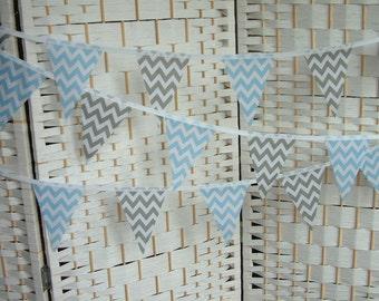 Mini bunting, banner. Chevrons, zig-zags in baby blue & grey (gray).  Baby shower, nursery, playroom.
