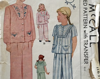 "Vintage 1942 McCall's Girls' Pajamas Pattern 1163 Size 10 (28"" Chest)"