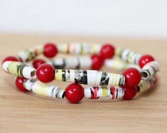 A Fly Went By Recycled Paper Bead Bracelet Set, Stacked Bracelet Set Perfect for Teachers, Librarian Gift, Book Lover Jewelry