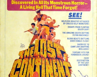 """Lost Continent, The. 1968 Original 14""""x22"""" US Movie Poster. Awesome Art of Suzanna Leigh In-person Autograph,Eric Porter,Hildegart Knef."""