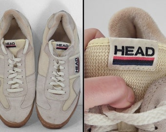 HEAD Brand Sneakers 1980s Express Men's Size 10 White Red Navy Low Tops Athletic