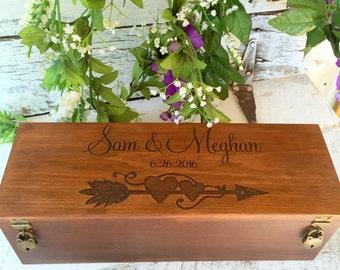 Wine Box, Wedding Wine Box, Wedding Gift, Custom Wine Box, Engraved Wine Box, Anniversary Gift, Wooden Wine Box, Rustic Wine Box, Ceremony