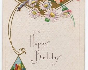Happy Birthday Vintage Postcard Victorian Greeting Floral Card With Flowers Paper Ephemera