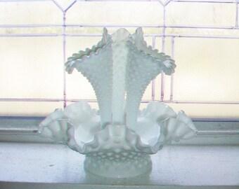 Vintage Milk Glass Hobnail Epergne Centerpiece