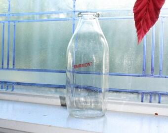 Vintage Milk Bottle Fairmont Creamery Moorhead MN Square Quart 1950s