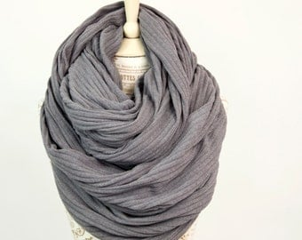 Oversized Infinity Scarf, Clothing Gift for Her, Travel Gift Grey Gray Scarf Chunky Scarf, Large Scarf, Hooded Scarf Winter Scarf Gift Big