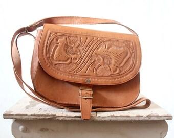 c1970's Tooled Crossbody Saddle Leather Handbag