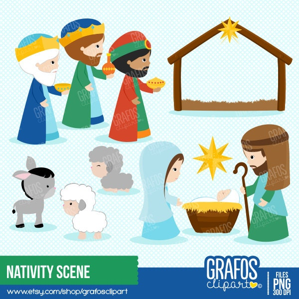 Nativity clip art | Etsy