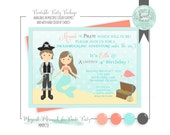 Mermaid and Pirate Invitation. Coral and Grey Mermaid and Pirate Birthday Party, DIY printable invitation sized 5 by 7