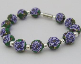 Bracelet, Artisan Bracelet, purple Rose Bracelet, Purple bracelet, Purple jewelry, Handmade, unique Bracelet, Shygar bracelet, Gift for her