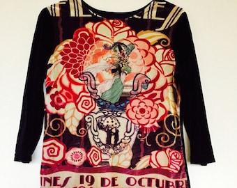 Vintage 1990s Gorgeous Velvet Art Nouveau Print Mucha Style Floral Vino Blouse Sz L